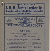 Image of Evergreen Park and Oak Lawn Telephone Directory July 1928 - Directory, Telephone