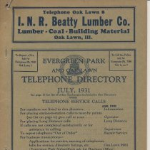 Image of Evergreen Park and Oak Lawn Telephone Directory, July 1931 - Directory, Telephone