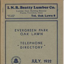 Image of Evergreen Park and Oak Lawn Telephone Directory, July 1932 - Directory, Telephone