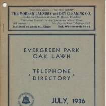 Image of Evergreen Park and Oak Lawn Telephone Directory, July 1936 - Directory, Telephone