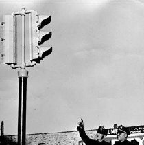 Image of Evergreen Park stop light 1947 at 95th Street  - Photograph