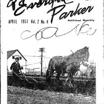 Image of John Luth with his horse Bill plowing a garden - Photograph