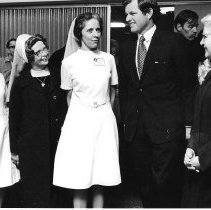 Image of Senator Ted Kennedy attends Neonatal Intensive Care Unit opening, 1971.            - Print, Photographic