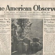 Image of December 1, 1941 Cover of the American Observer - Newspaper