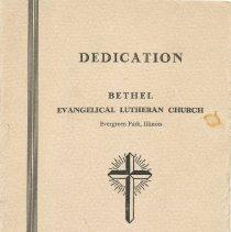 Image of Dedication of Bethel Evangelical Lutheran Church - Pamphlet