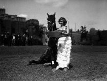 Image of CWi 489 - Dorothy Herbert standing beside horse