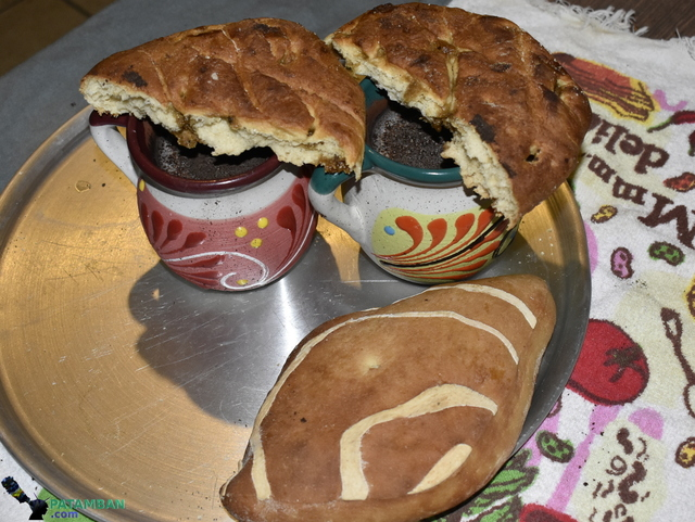 piezas de pan con chocolate de patamban
