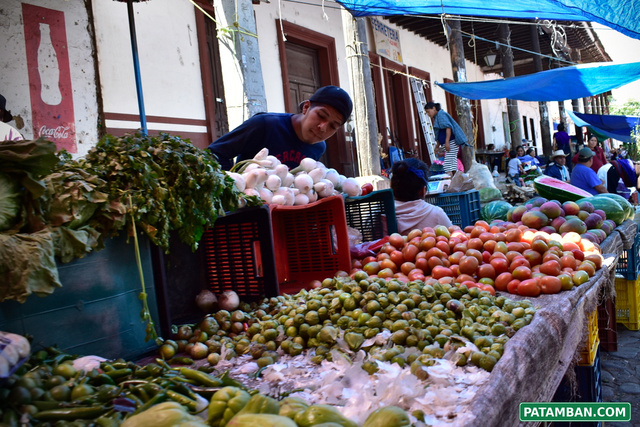 vendiendo verduras plaza patamban