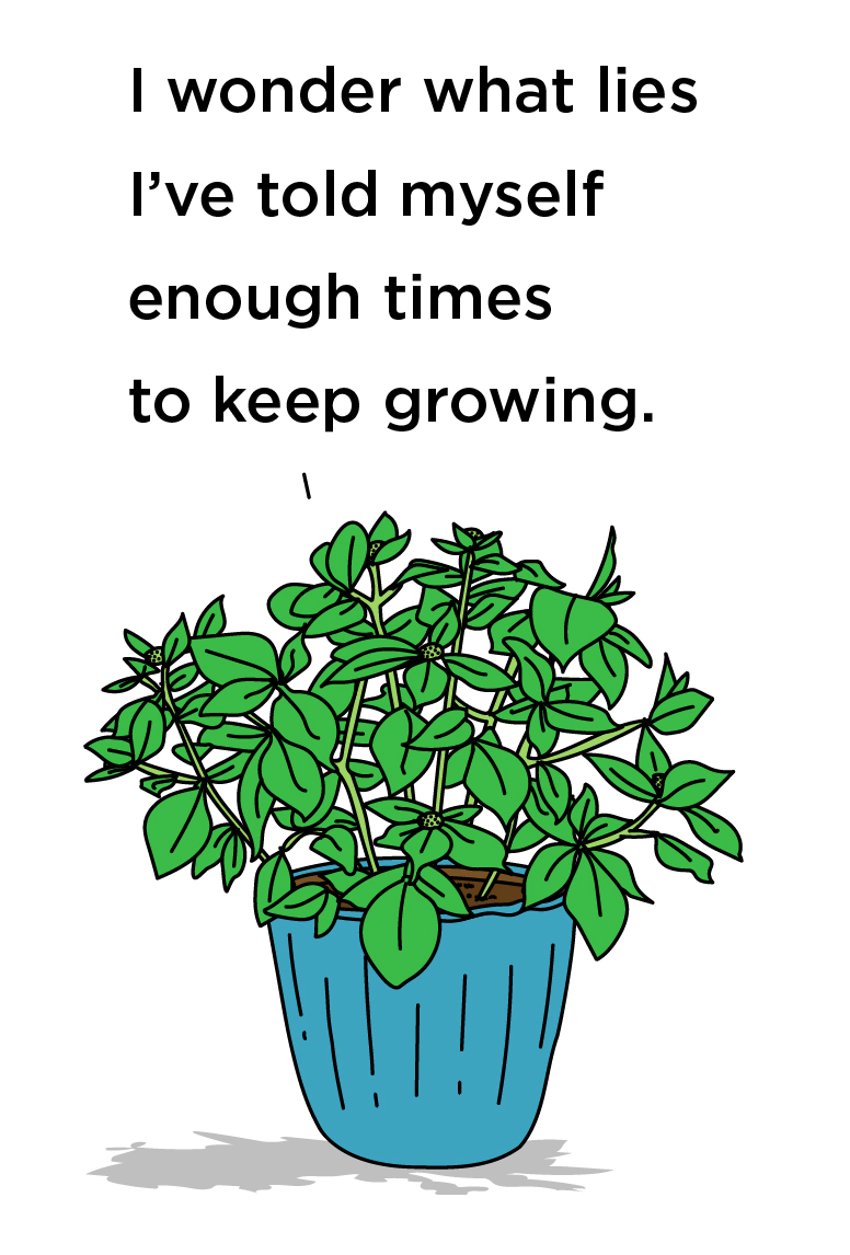 Illustration of a house plant captioned: I wonder what lies I've told myself enough times to keep growing.