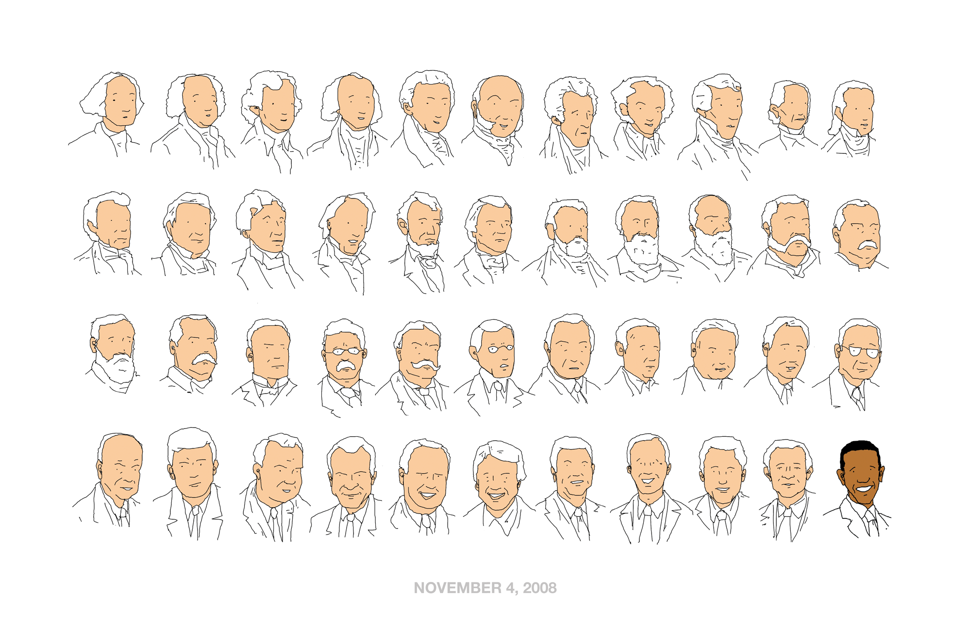 Illustration of the first 44 Presidents of the United States laid out in a grid.