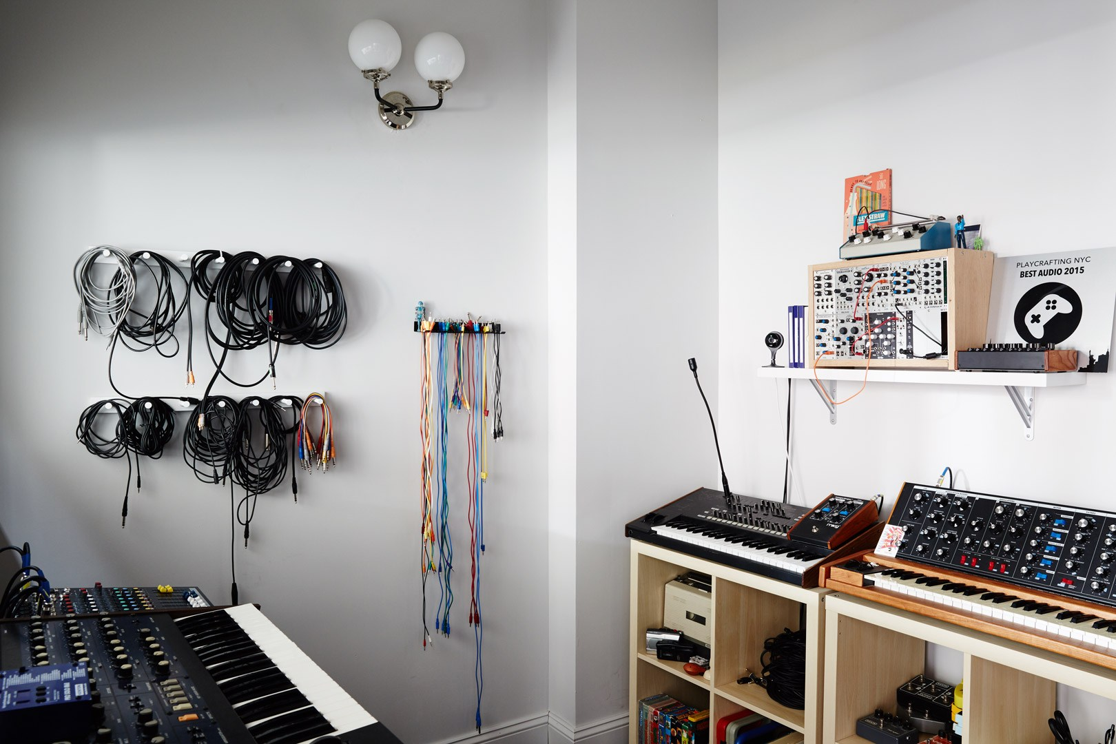 Musical gear inside the audio studio of the Dots office