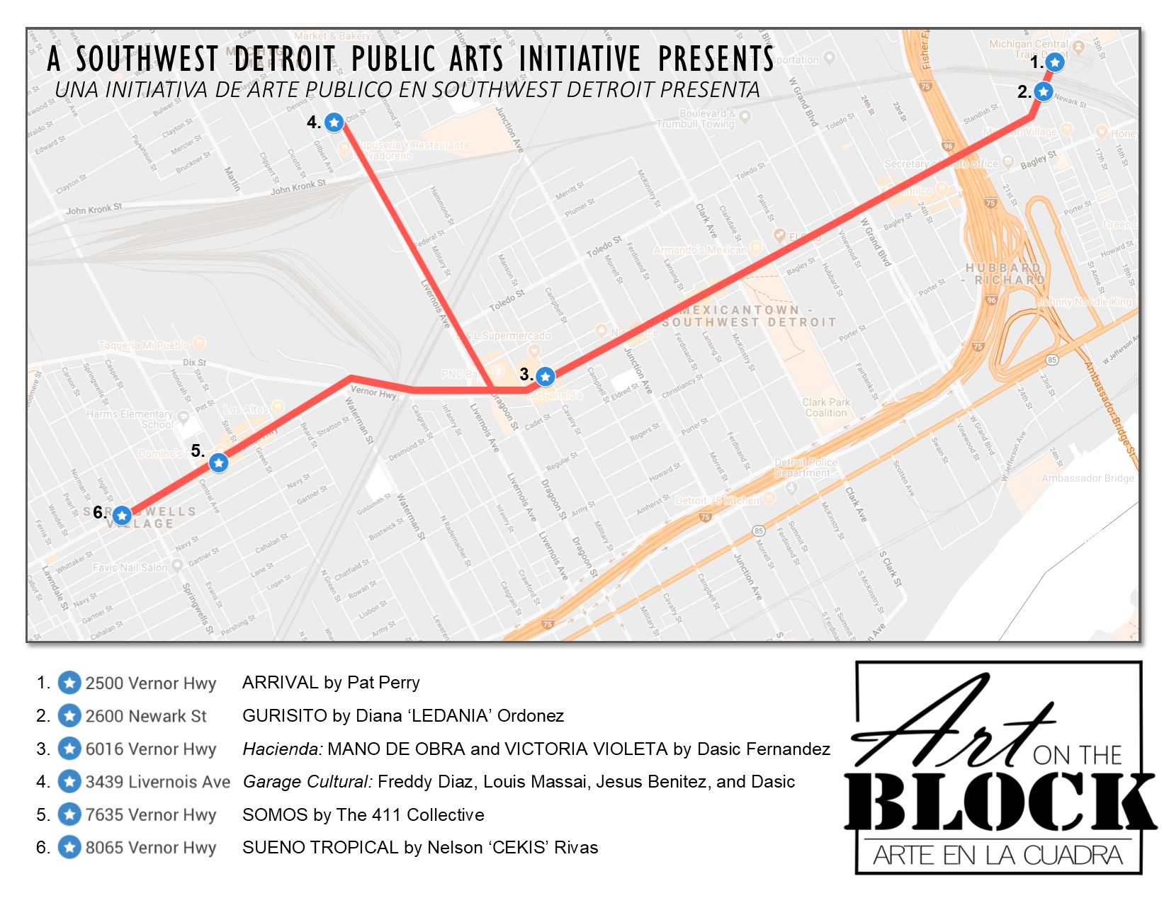 Projects | Art on the Block - Arte en la Cuadra | Patronicity on map of dearborn, map of neighborhoods in detroit, map of lincoln park, map of brownstown, map of romulus, map of west detroit, map of river rouge, map of se detroit, map of westland,