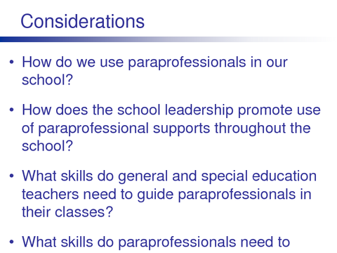 When Is Use Of Paraprofessionals >> Pattan Considerations For Administrators In Supporting And