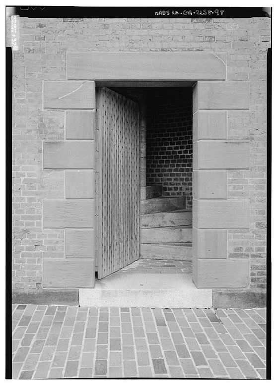 Detail view of northeast corner showing door (note: repaired cracks in stone) - Fort Pulaski, Cockspur Island, Savannah, Chatham County, GA