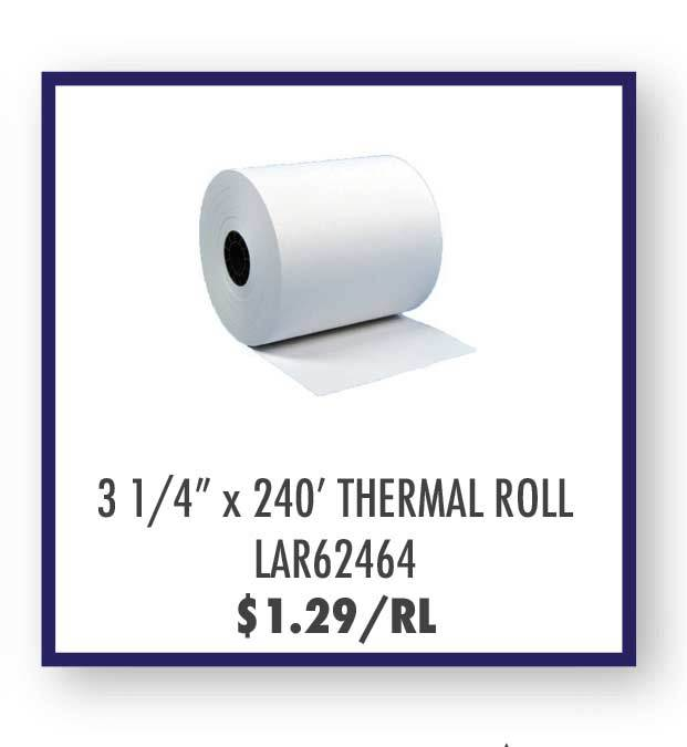 "3 1/4"" (83MM) x 240' White Bond Roll Paper"