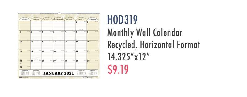 HOD319 House of Doolittle Monthly Horizontal Wall Calendar 14-7/8 x 12 Inches