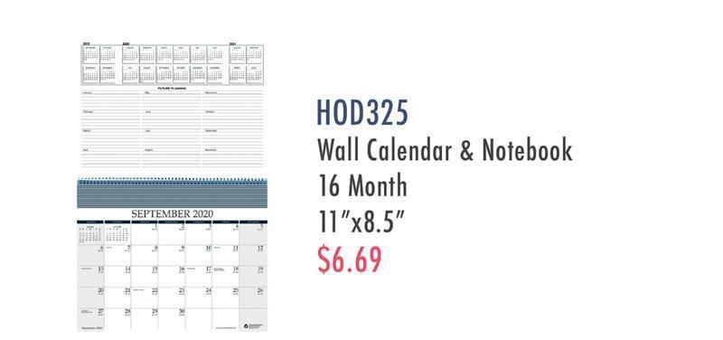 HOD325 MID-YEAR,WALL/NOTEBOOK CALENDAR, 16 Months
