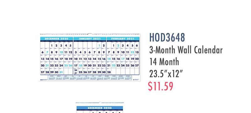 HOD3648 House Of Doolittle Three-Month Horizontal Wall Calendar