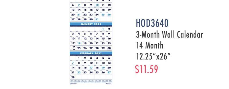 "HOD3640 House of Doolittle Three-month Vertical Wall Calendar - Monthly - 1.2 Year - December 2019 till January 2021 - 3 Month Single Page Layout - 12 1/4"" x 27"" Sheet Size - Wire Bound - Blue - 26"" Height x 12.3"" Width - Eyelet - 1 Each"