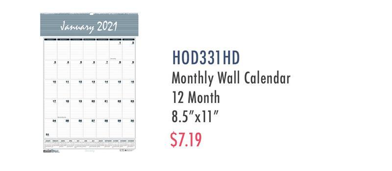"HOD331HD House of Doolittle Bar Harbor 12-Month Wall Calendar - Yes - Monthly - 1 Year - January 2020 till December 2020 - 1 Month Single Page Layout - 8 1/2"" x 11"" Sheet Size - 1"" x 1.25"" Block - Wire Bound - Wall Mountable - Blue, Gray - Paper - Reference Calendar"