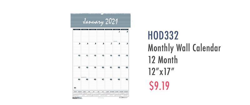 """HOD332 House of Doolittle Bar Harbor 17"""" Wall Calendar"""