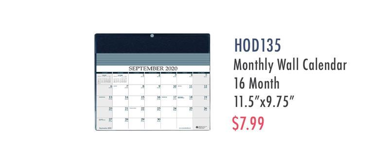 HOD135 House of Doolittle Monthly Wall Calendar Academic Reminder