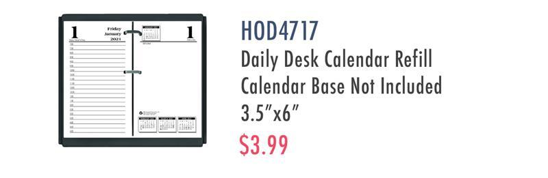 "HOD4717 House of Doolittle No.17-Base Economy Calendar Refills - Yes - Daily - 1 Year - January 2020 till December 2020 - 7:00 AM to 5:00 PM - 1 Day Single Page Layout 1 Day Double Page Layout - 3 1/2"" x 6"" Sheet Size - Desktop - White - Appointment Schedule, Refill"