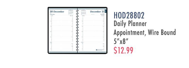 "HOD28802 House of Doolittle Quarter-hourly Appointment Daily Planner - Daily - 1 Year - January 2020 till December 2020 - 7:00 AM to 7:45 PM - 1 Week Single Page Layout - 5"" x 8"" Sheet Size - Leather - Black - 1 Each"