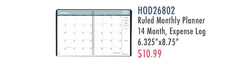 "HOD26802 House of Doolittle Expense Log/Memo Page Monthly Planner - Yes - Monthly - 1.2 Year - December 2019 till January 2021 - 1 Month Double Page Layout - 6 7/8"" x 8 3/4"" Sheet Size - 1.50"" x 1.50"" Block - Wire Bound - Simulated Leather, Paper - Black - Memo"