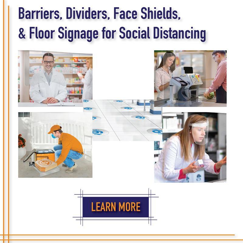 Barriers, Dividers, Face Shields, Floor Signage, and Sneeze Guards PPE