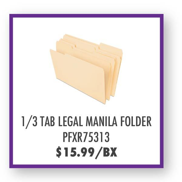 PFXR75313 1/3 Tab Legal Manila Folder Overstock Sale