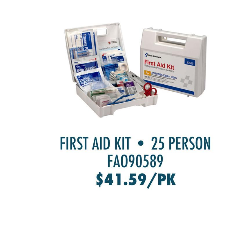 FAO90589 First Aid Only 25-Person Bulk Plastic First Aid Kit - ANSI Compliant