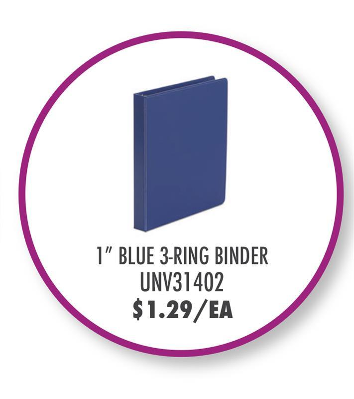 """UNV31402 Economy Non-View Round Ring Binder, 3 Rings, 1"""" Capacity, 11 x 8.5, Royal Blue"""