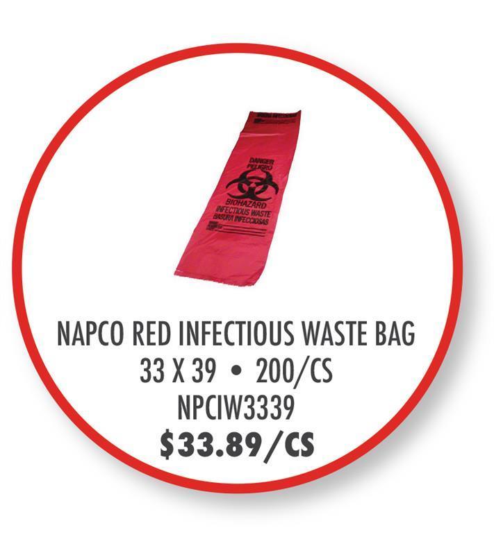 NPCIW3339 NAPCO Red Infectious Waste Bag - 33x39, 1.30 gauge, 200/CS