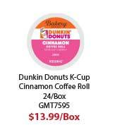 GMT7595 Dunkin Donuts K- Cup Pods, Cinnamon, K- Cup, 24/ BX