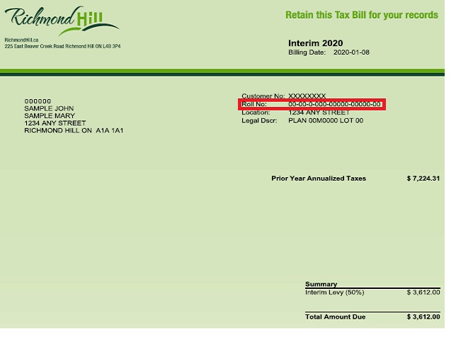 Image of a bill with the account number located in the upper left area