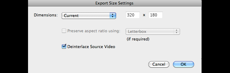 Export Size Settings