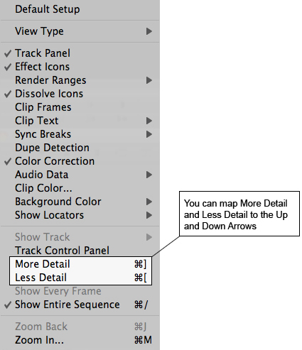 Avid UI with more detail less detail