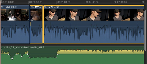 Use the shortcut COMMAND+SHIFT+G to break out the audio from the video ...