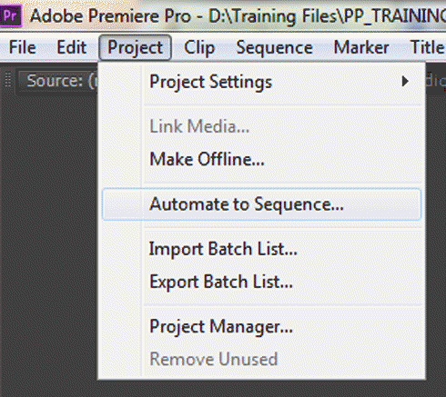 Showing the project menu option for automate to sequence
