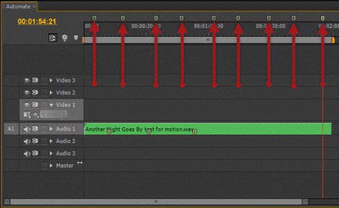 Showing Sequence markers added in the timeline - esential for this method