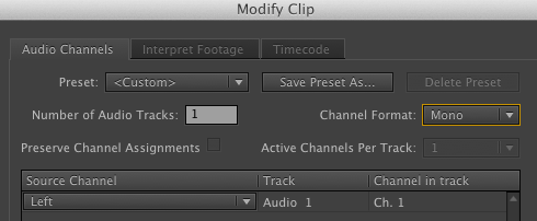 Modify Audio Channels Adobe Premiere Pro