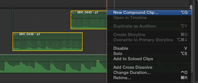 Compound Clips as Audio Tracks in Final Cut Pro X - New Compound Audio Clip