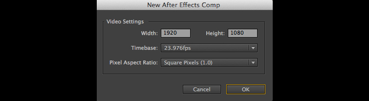New After Effects Comp
