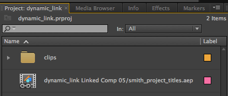 Dynamic Link Project in Premiere Pro
