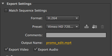 Presets in Adobe Media Encoder