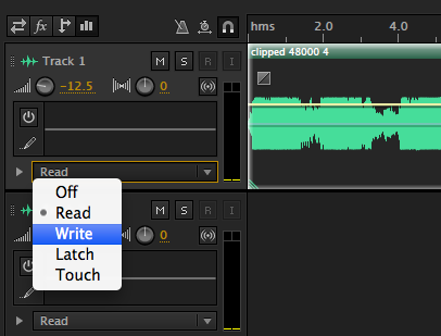 Write Mode in Adobe Audition