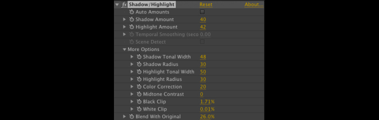 Shadow and Highlight Controls