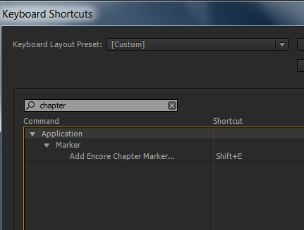 create shortcut for encore chapter marker