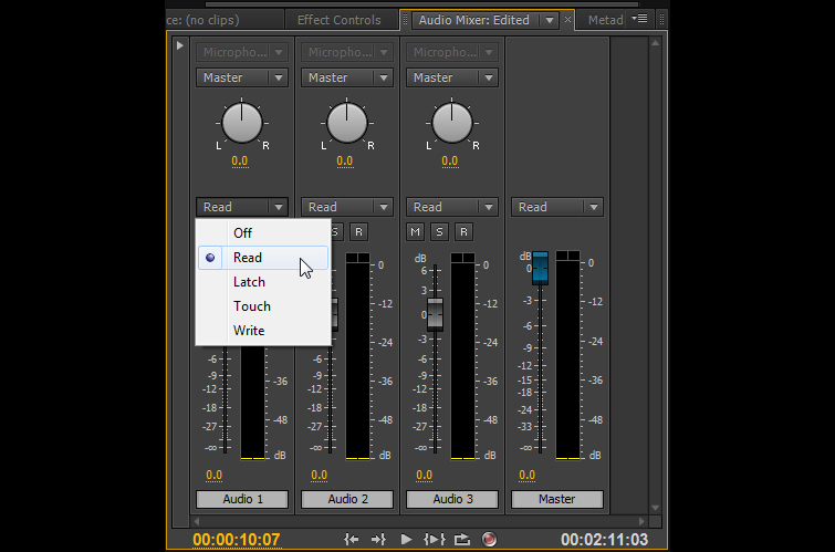 Using Premiere Pro's Audio Automation Modes - Automation Modes Premiere Pro